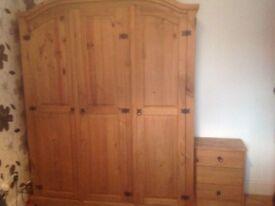 Pine 3 door wardrobe and drawers