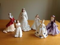 Royal Doulton and Royal Worcester china ladies figurines