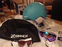 Sinner Ski Helmet Bloc goggles and glasses