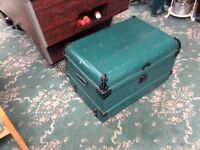 Metal storage trunk/ chest in good condition has been used as coffee table collection only.