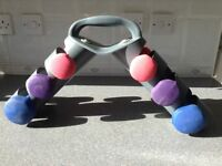 Set of 3 pairs of dumbbell training weights with stand