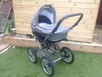 Bebbetto limited edition grey: pram, pushchair and car seat-COLLECTION ONLY