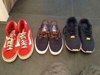 Mens/boys size 7 Nike flux, vans high tops & van boat shoes