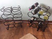 Pair Wrought Iron Wine Racks holds 12