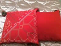2 RED SCANDI STYLE IKEA CUSHIONS with tassels