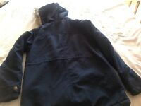 Candy Couture -cosy fur lined navy jacket with hood suitable for school