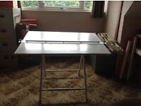 70s Drafting desk with chair and wooden set square