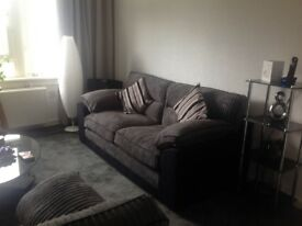 3 seater grey and black sofa a d chaircordoroy i