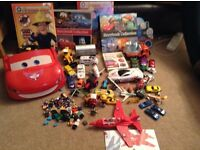 Huge boys toy Car bundle including Disney Lightning McQueen, Lego compatible mini figures and blocks