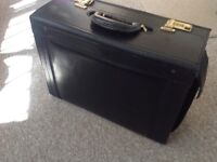 Pilot's briefcase, black leather. Very good clean condition.