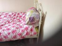 Metal frame bed.