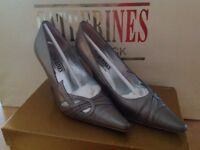 Size 3 Shoes and Matching Clutch Bag, Silver/Metallic