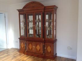 Italian solid rosewood display cabinet