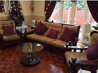 Italian Sofa - Solid Oak Framed three Seater Sofa and Two Armchairs