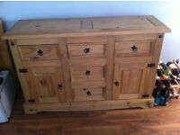 Solid pine wood 2 Dr 6 Drw Sideboard