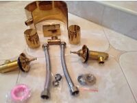 Bathroom gold basin taps all fittings supplied