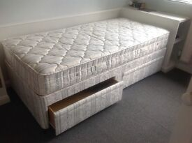 Single bed with two storage drawers