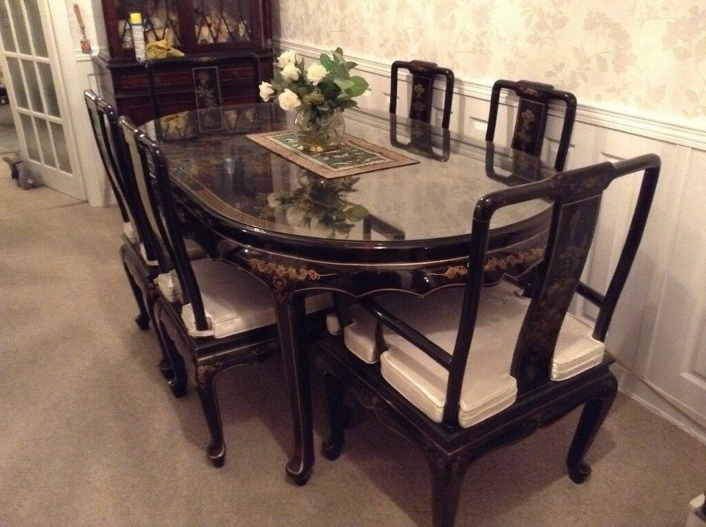 Chinese Black Lacquer Dining Room Suite In Huyton Merseyside
