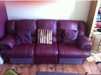 3 Seater manual Recliner Leather Sofa as New condition