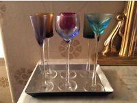 'Artland' miniature coloured glasses on silver coloured tray