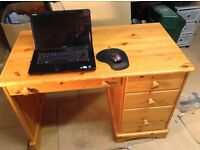 Solid pine desk. 4 drawers, Good condition, home use