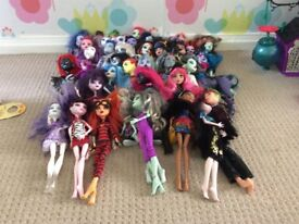 Monster High collection with DVDS, 42 dolls, school and play sets all are in a good condition