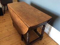 Oak barley twist gate leg dinning table