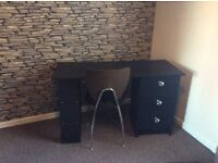 Black desk/dressing table with glass handles. Hardly used. Great condition.