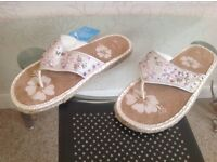 Ladies size 5 sequinned flip flop sandals. Brand new with tags £6.00