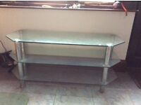 TV stand in heavy glass