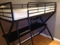 Frame bed with desk
