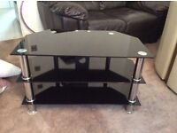 TV stand-black and silver