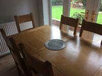 Solid oak 6 chair dinning set