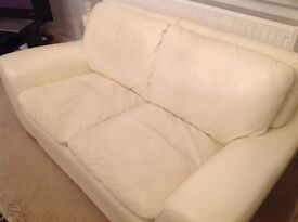 Cream off white LEATHER SOFA 3 seater and 2 seater