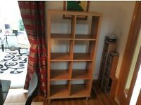 Modern light oak room divider/wall display unit