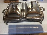 ANTIQUE SERVING DISHES AND BASKET HOLDING TRAY
