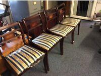 4 x mahogany Macintosh Elgin dining chairs blue stripe