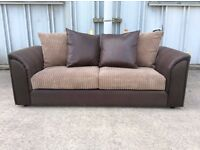 3 Seat Brown Jumbo Cord and Leather Sofa - Brand New - £179 Including Free Local Delivery