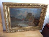 Oil painting of Highland scene in gilt frame signed by artist R. Mcleod