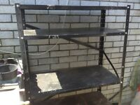 """Steel shelving . 34"""" X 16"""" X 59"""" strong shelving. Well used but still useful for a store etc"""