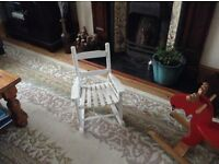 Children's wooden rocking chair in white