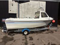 Predator 160 16ft fishing boat with 60hp 2 stroke Yamaha and 3hp auxiliary yamaha and trailer