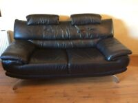 DFS black leather 2 seater sofa