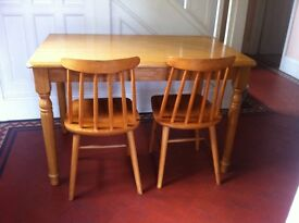 Solid Wood Farmhouse Dining Kitchen Table & 2 Vintage Chairs / Can Deliver