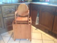 High chair convert to low chair and table, great condition