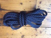 Rope - 3 Strand Polyester 16mm - Navy Blue - NEW - Sold per metre