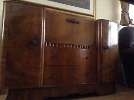 Walnut veneer cocktail cabinet - at least 50 years old