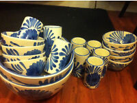 Pottery Dinner set. Hand painted and very unusual.