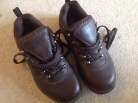Brown leather Cotton Traders lace up walking boots in size 7.