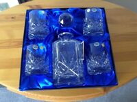 Unused Boxed Whiskey and wine decanter sets
